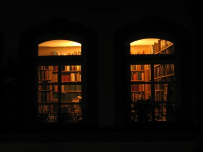 Library seen from outside in the dark
