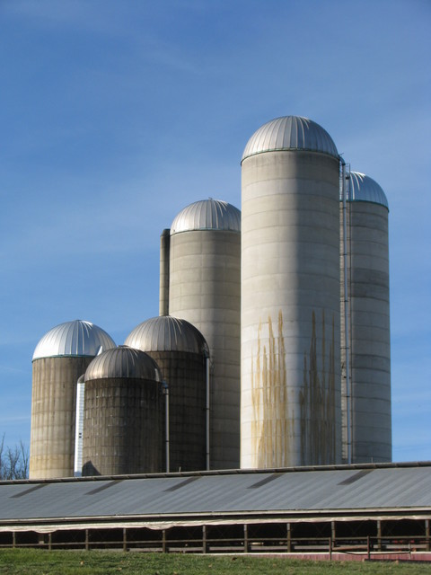 six silos of varying heights