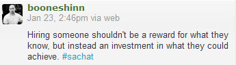 a tweet by @booneshinn hiring should not be reward but investment