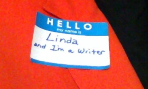Name tag - Hello my name is Linda and I'm a writer