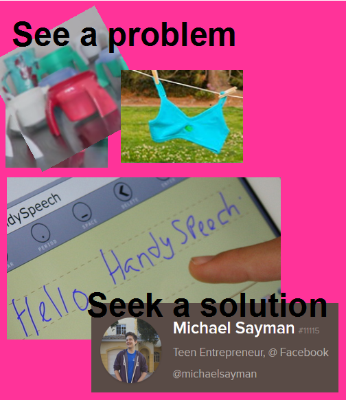 Collage of items representing problems for which teens sought solutions