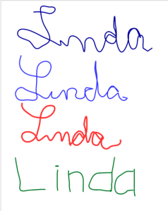 Linda written three times, printed once