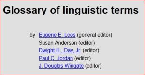 Snip from web page of linguistics glossary