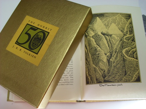 Page of the Hobbit showing Tolkien illustration