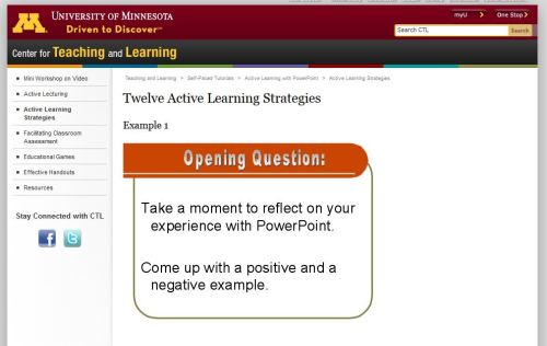 screen capture shows first slide in tutorial on 12 active learning strategies