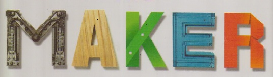 the single word MAKER, each letter made of different materials