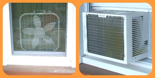 Two windows, one with a box fan in it, the other with an air conditioner