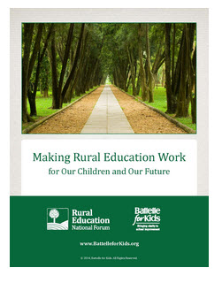 "Cover of white paper ""Making Rural Education Work for out Children and Our Future"" shows straight path into far distance"