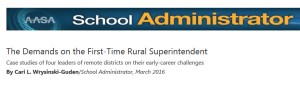 screen capture shows title and publishing info for article about first-time rural superintendents
