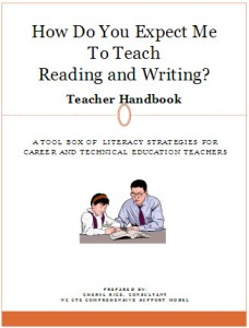 Drawing of man and student is on cover of Literacy handbook for CTE teachers