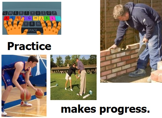 Images of activities in which practice is essential for progress.