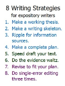 a poster of the 8 sentences that comprise all expository writers must master.