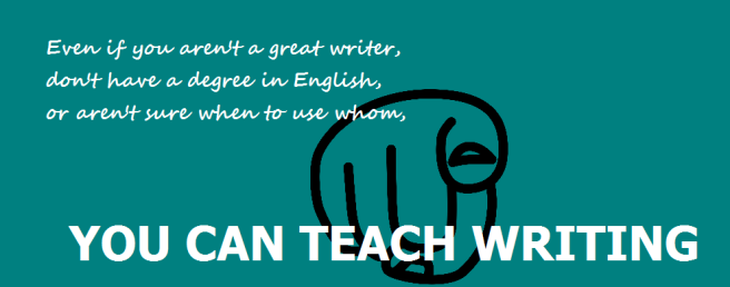 YCTWriting home page header has pointing finger and message You Can Teach Writing.