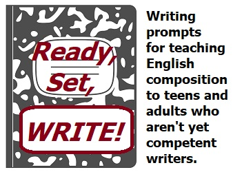"""Ready, Set, Write!"" is written on cover of composition book"