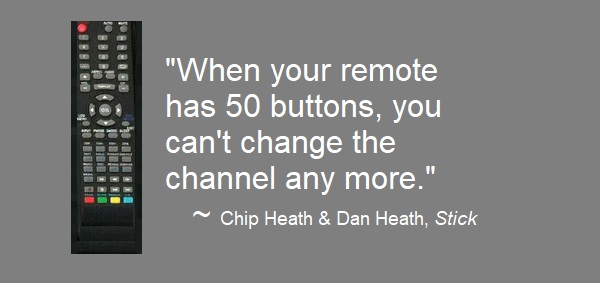 Quote: When your remote has 50 buttons, you can't change the channel any more.