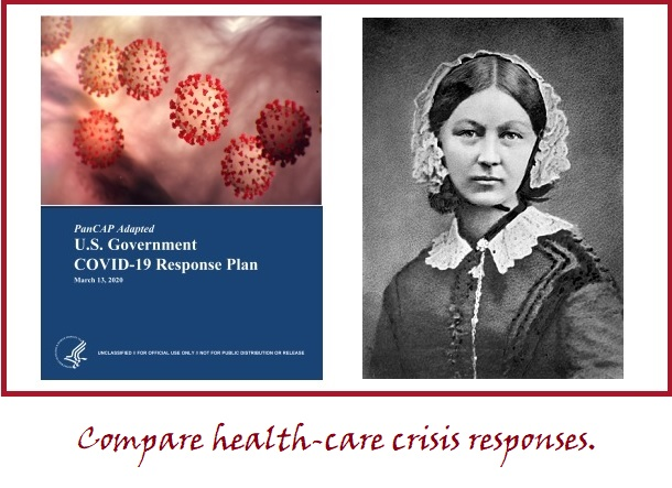 Photos of US Covid response plan and Florence Nightingale