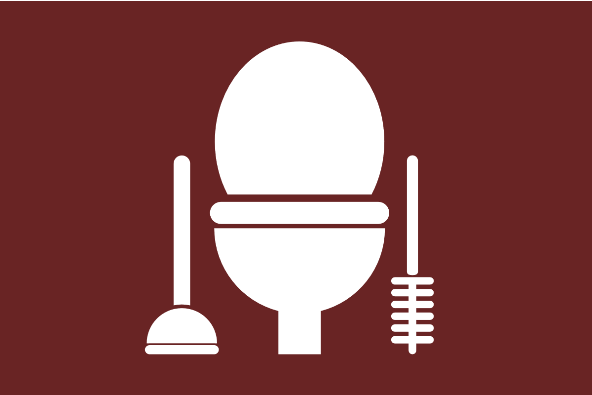 Toilet with plunger and brush beside it.